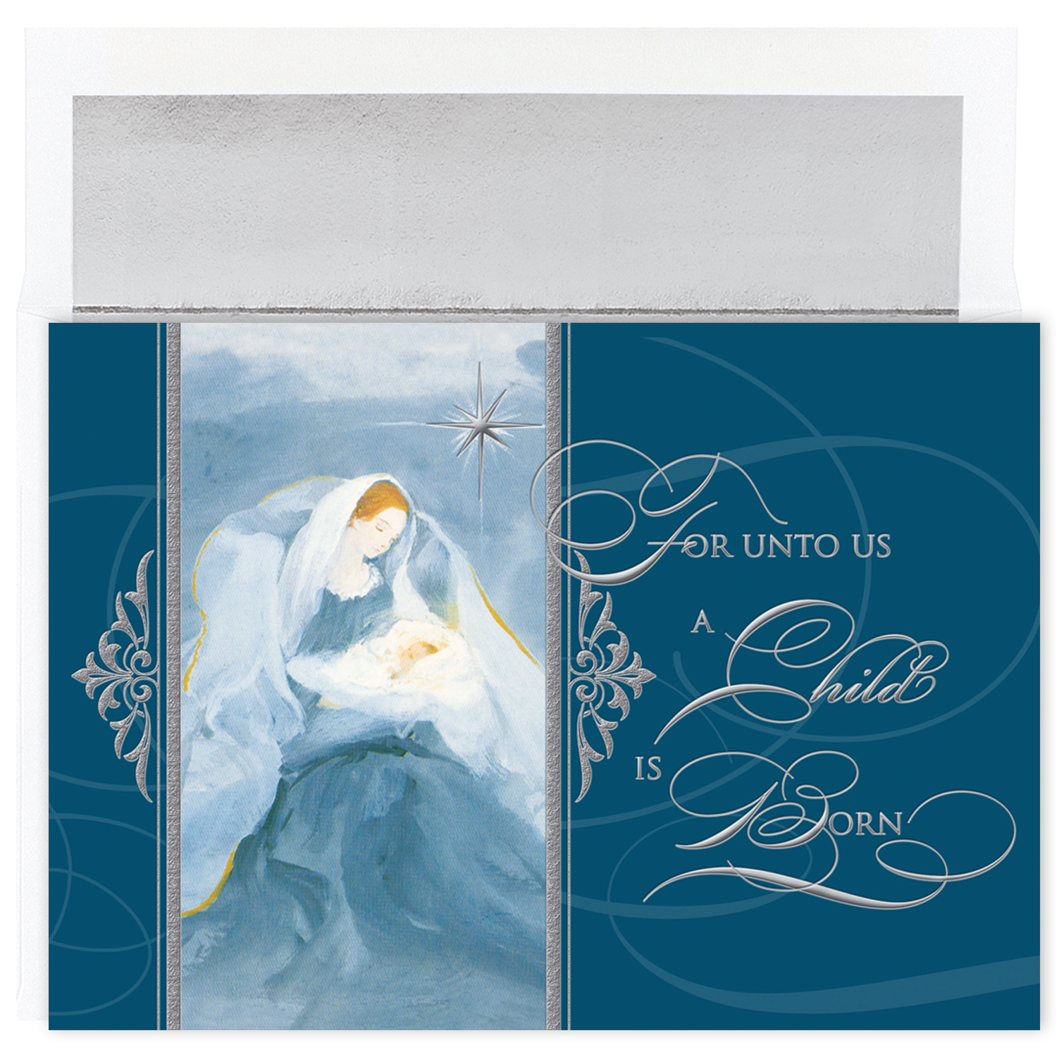 Foil stamped christmas cards 1 inside sentiment may his coming bring you peace and blessings this christmas m4hsunfo